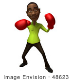 #48623 Royalty-Free (Rf) Illustration Of A 3d Black Man Mascot Boxing - Version 3
