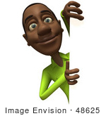 #48625 Royalty-Free (Rf) Illustration Of A 3d Black Man Mascot Looking Around A Blank Sign