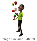 #48629 Royalty-Free (Rf) Illustration Of A 3d Black Man Mascot Juggling Healthy Veggies - Version 2