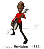 #48631 Royalty-Free (Rf) Illustration Of A 3d Black Man Mascot Playing An Electric Guitar - Version 2