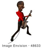 #48633 Royalty-Free (Rf) Illustration Of A 3d Black Man Mascot Playing An Electric Guitar - Version 3