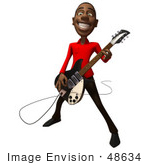 #48634 Royalty-Free (Rf) Illustration Of A 3d Black Man Mascot Playing An Electric Guitar - Version 1