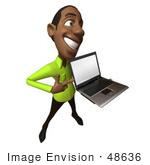 #48636 Royalty-Free (Rf) Illustration Of A 3d Black Man Mascot Holding A Laptop - Version 4