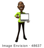 #48637 Royalty-Free (Rf) Illustration Of A 3d Black Man Mascot Holding A Laptop - Version 1