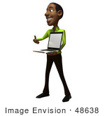 #48638 Royalty-Free (Rf) Illustration Of A 3d Black Man Mascot Holding A Laptop - Version 2