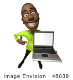 #48639 Royalty-Free (Rf) Illustration Of A 3d Black Man Mascot Holding A Laptop - Version 3