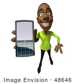 #48646 Royalty-Free (Rf) Illustration Of A 3d Black Man Mascot Holding A Cell Phone - Version 4