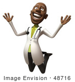 #48716 Royalty-Free (Rf) 3d Illustration Of A Happy Black Male Doctor Leaping Into The Air - Version 1