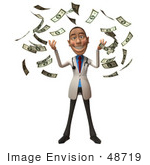 #48719 Royalty-Free (Rf) Illustration Of A 3d White Male Doctor Mascot Throwing Money - Version 1
