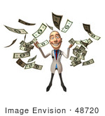 #48720 Royalty-Free (Rf) Illustration Of A 3d White Male Doctor Mascot Throwing Money - Version 4