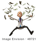 #48721 Royalty-Free (Rf) Illustration Of A 3d White Male Doctor Mascot Throwing Money - Version 2