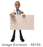 #48730 Royalty-Free (Rf) Illustration Of A 3d White Male Doctor Holding Up A Blank Sign - Version 2