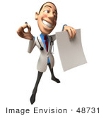 #48731 Royalty-Free (Rf) Illustration Of A 3d White Male Doctor Holding Up A Blank Form - Version 5