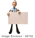 #48732 Royalty-Free (Rf) Illustration Of A 3d White Male Doctor Holding Up A Blank Sign - Version 1