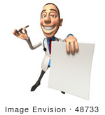 #48733 Royalty-Free (Rf) Illustration Of A 3d White Male Doctor Holding Up A Blank Form - Version 4