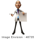 #48735 Royalty-Free (Rf) Illustration Of A 3d White Male Doctor Holding Up A Blank Form - Version 1