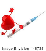 #48738 Royalty-Free (Rf) 3d Illustration Of A Red Heart Mascot On A Swine Flu Vaccine Syringe