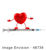 #48739 Royalty-Free (Rf) 3d Illustration Of A Red Heart Mascot Standing On A Syringe