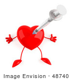#48740 Royalty-Free (Rf) 3d Illustration Of A Red Heart Mascot Getting A Swine Flu Vaccine