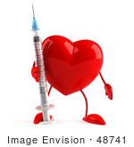 #48741 Royalty-Free (Rf) 3d Illustration Of A Red Heart Mascot Holding A Syringe