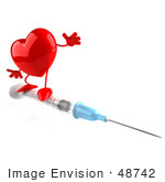 #48742 Royalty-Free (Rf) 3d Illustration Of A Red Heart Mascot On An H1n1 Swine Flu Vaccine Syringe