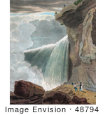 #48794 Royalty-Free Stock Illustration Of A Man At The Ledge Of A Cliff Looking Down At Other People At Niagara Falls