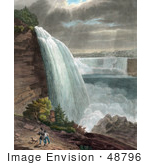 #48796 Royalty-Free Stock Illustration Of Two Men Carrying Guns And Walking With Their Dog Near Niagara Falls At Goat Island by JVPD