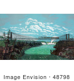 #48798 Royalty-Free Stock Illustration Of A Train Crossing The Great International Railway Suspension Bridge Niagara Falls In The Background