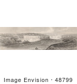 #48799 Royalty-Free Stock Illustration Of A Sepia Toned Engraving Of Niagara Falls From The Canadian Side by JVPD