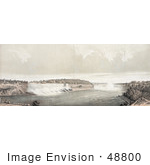 #48800 Royalty-Free Stock Illustration Of Three Men On Shore Viewing Niagara Falls