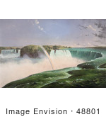 #48801 Royalty-Free Stock Illustration Of A Rainbow Over The Mist Of Niagara Falls From The Canadian Side