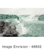 #48802 Royalty-Free Stock Illustration Of People Strolling In Prospect Point Park, Above Boats At Niagara Falls by JVPD