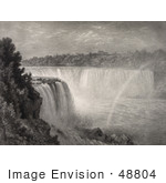 #48804 Royalty-Free Stock Illustration Of A Sepia Sketch Of A Rainbow At Niagara Falls