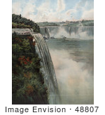 #48807 Royalty-Free Stock Illustration Of Tourists At The Top Of Niagara Falls, Viewing The Maid Of The Mist by JVPD