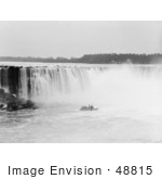 #48815 Royalty-Free Stock Photo Of A Steamboat In The Mist At The Bottom Of Horseshoe Falls Niagara Falls