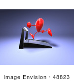 #48823 Royalty-Free (Rf) Illustration Of A 3d Red Love Heart Mascot Running On A Treadmill - Version 2