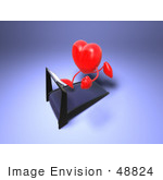 #48824 Royalty-Free (Rf) Illustration Of A 3d Red Love Heart Mascot Running On A Treadmill - Version 3