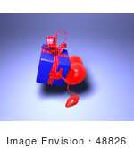 #48826 Royalty-Free (Rf) Illustration Of A 3d Red Love Heart Mascot Carrying A Present - Version 5