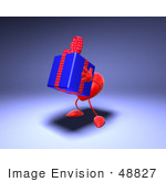 #48827 Royalty-Free (Rf) Illustration Of A 3d Red Love Heart Mascot Carrying A Present - Version 3
