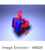 #48828 Royalty-Free (Rf) Illustration Of A 3d Red Love Heart Mascot Carrying A Present - Version 2
