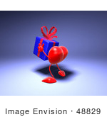 #48829 Royalty-Free (Rf) Illustration Of A 3d Red Love Heart Mascot Carrying A Present - Version 6