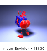 #48830 Royalty-Free (Rf) Illustration Of A 3d Red Love Heart Mascot Carrying A Present - Version 4