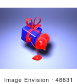 #48831 Royalty-Free (Rf) Illustration Of A 3d Red Love Heart Mascot Carrying A Present - Version 1