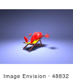 #48832 Royalty-Free (Rf) Illustration Of A 3d Red Love Heart Mascot Sun Bathing In A Chair - Version 1