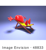 #48833 Royalty-Free (Rf) Illustration Of A 3d Red Love Heart Mascot Sun Bathing In A Chair - Version 3