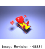 #48834 Royalty-Free (Rf) Illustration Of A 3d Red Love Heart Mascot Sun Bathing In A Chair - Version 2