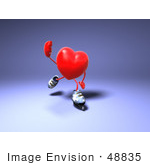 #48835 Royalty-Free (Rf) Illustration Of A 3d Red Love Heart Mascot Inline Skating - Version 2