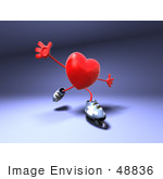 #48836 Royalty-Free (Rf) Illustration Of A 3d Red Love Heart Mascot Inline Skating - Version 1