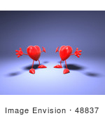 #48837 Royalty-Free (Rf) Illustration Of Two 3d Red Love Heart Mascots Holding Their Arms Open For A Hug - Version 2