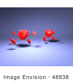 #48838 Royalty-Free (Rf) Illustration Of Two 3d Red Love Heart Mascots Running - Version 2